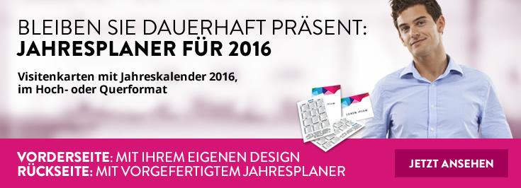 Visitenkarten mit Jahreskalender 2016