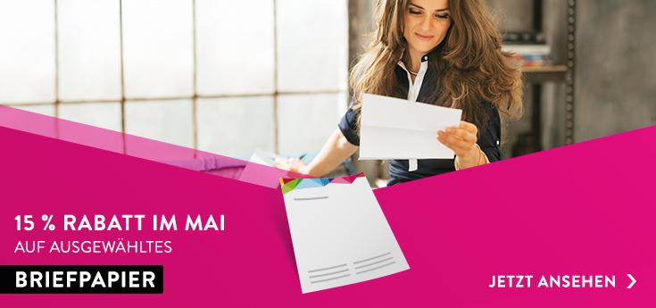 Briefpapier 15 % im Mai